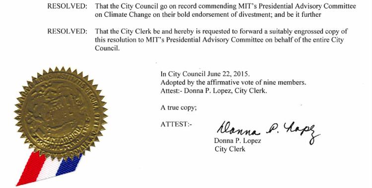 2015.06.22 - Cambridge City Council Backs MIT Divestment